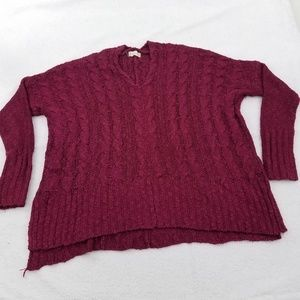 Altar'd State Sweater M Red Pink Cable Knit Boxy O